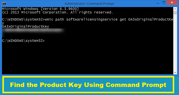 Find the Product Key Using Command Prompt