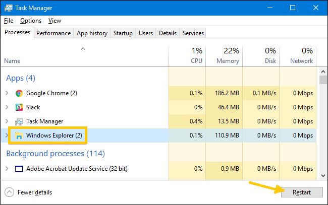 Restart Windows Explorer Process