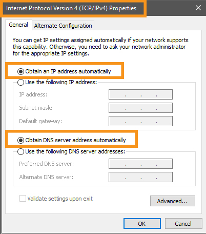 Check the Network Adapter Settings