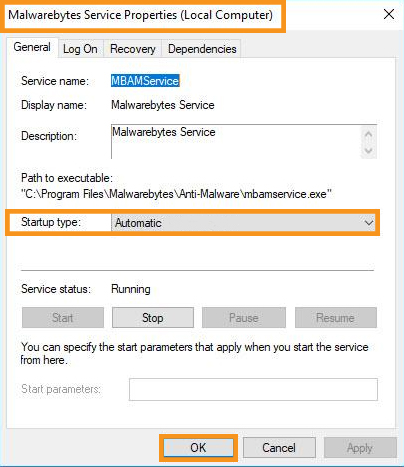 Check the Status of Malwarebytes Service