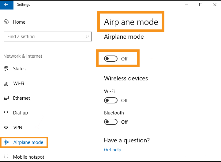 Disable the Airplane Mode