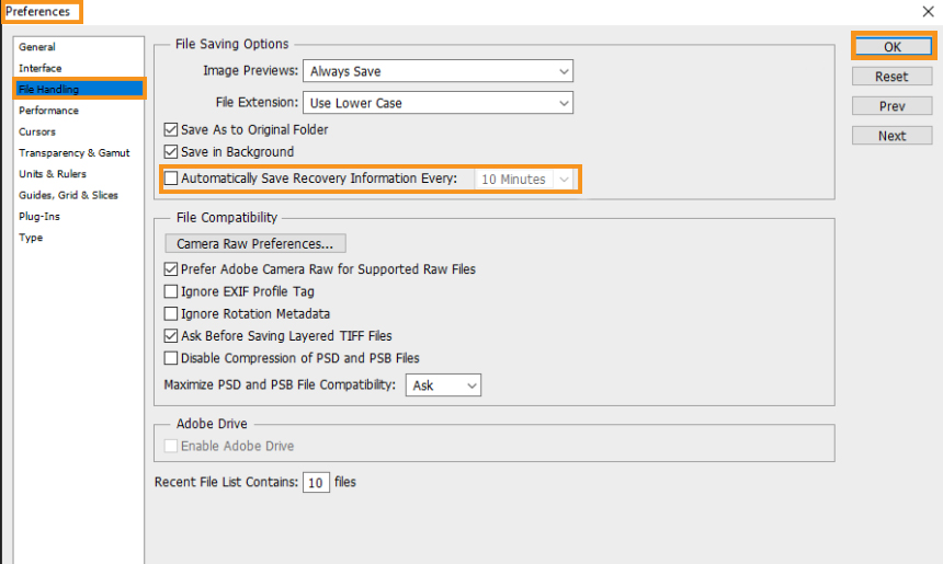 Disable the Auto-Recovery Saving Feature