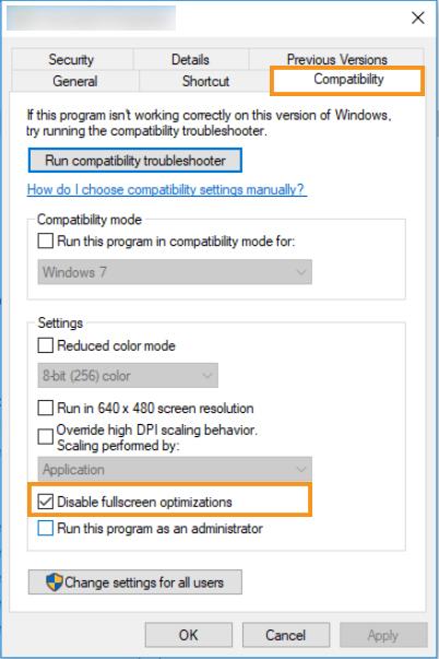 Disable the Full-Screen Optimisation Option