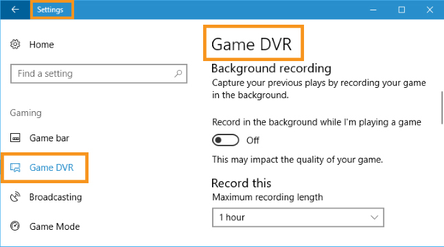 Disable the Game DVR