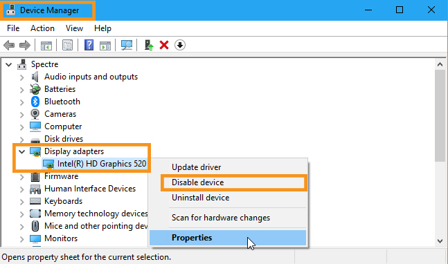 Disable the Integrated Graphics Card