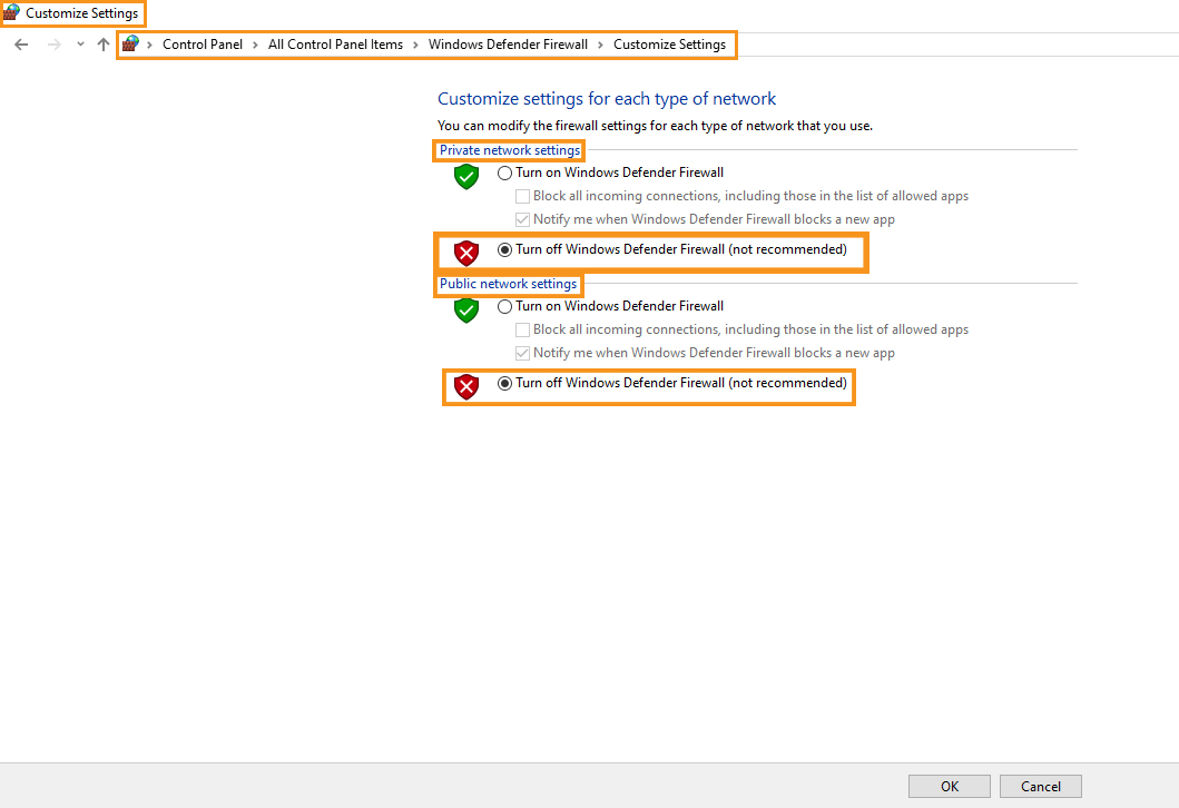 Disable the Windows Defender Firewall