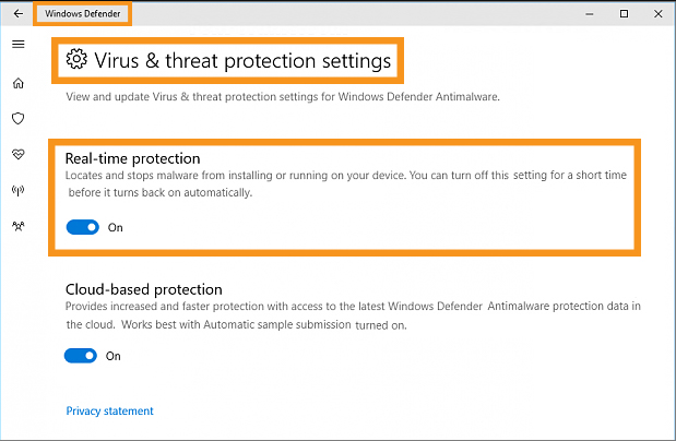 Enable Windows Defender from the Settings application
