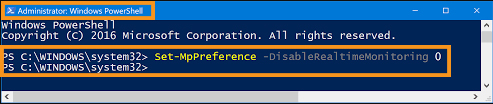Enable the Windows Defender from the Command Line