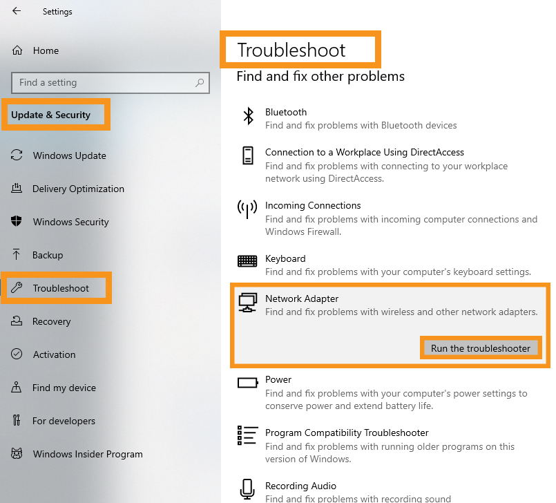 Perform the Network Troubleshooter