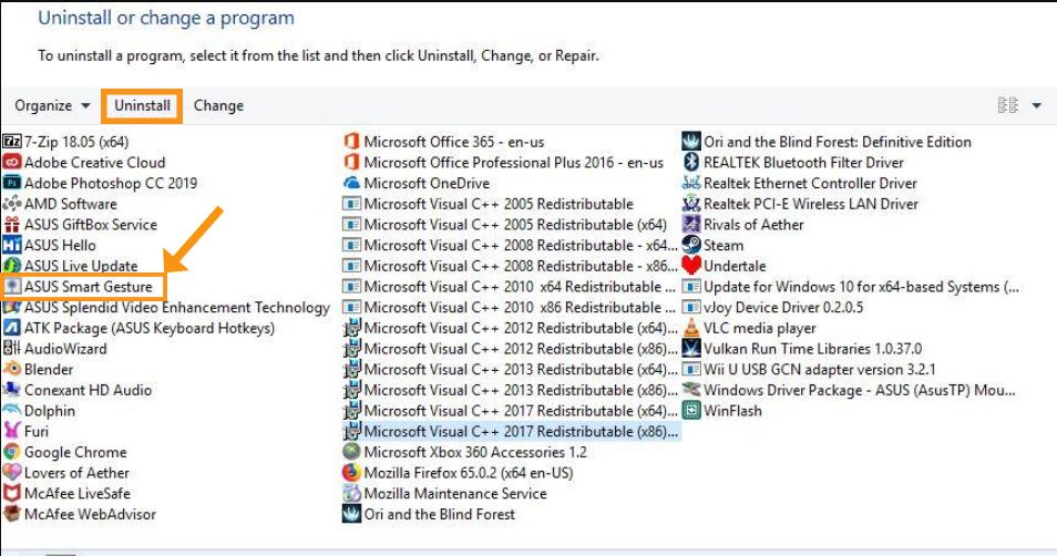 Reinstall Asus Smart Gesture On Windows 10