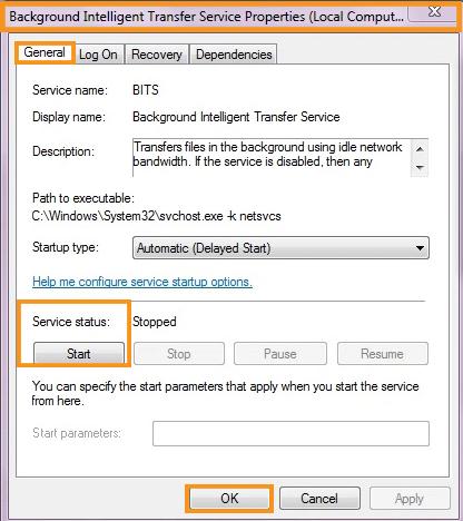 Reload Background Intelligent Transfer Service (BITS) Services