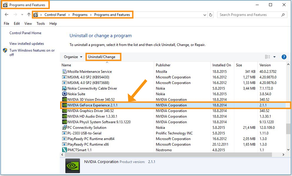 Remove with Windows Programs and Features