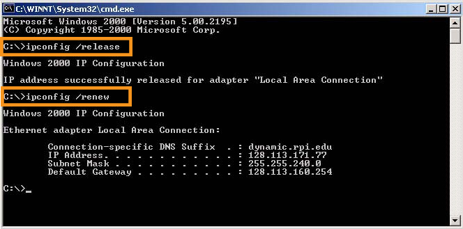 Renew the IP Configuration