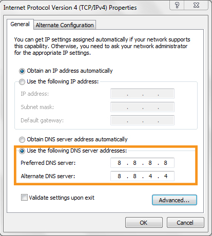 Reset the DNS