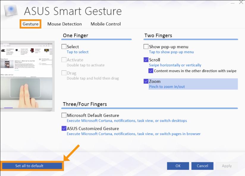 Reset your Asus Smart Gesture