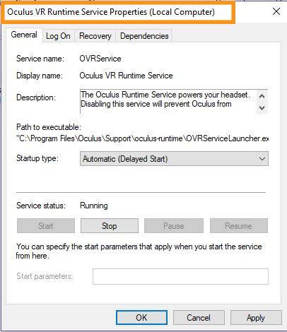 Restart the Oculus VR Runtime Service