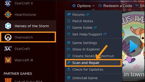 Run a Scan and Repair of Overwatch