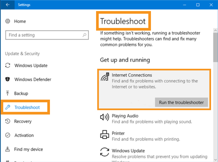Try Running the Internet Connection Troubleshooter