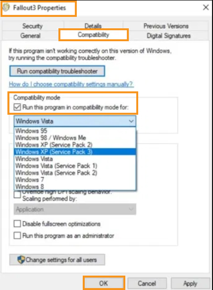 Try to Run the Fallout 3 in Compatibility Mode