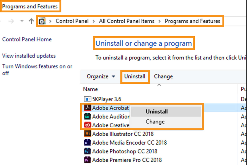 Uninstall and Reinstall the Adobe Acrobat