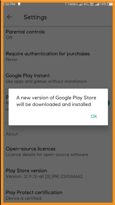 Update the Google Play Store and Google Play Service Application
