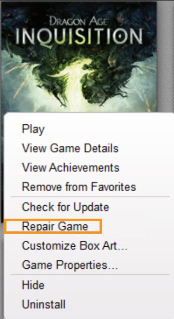 Verify the Game Files