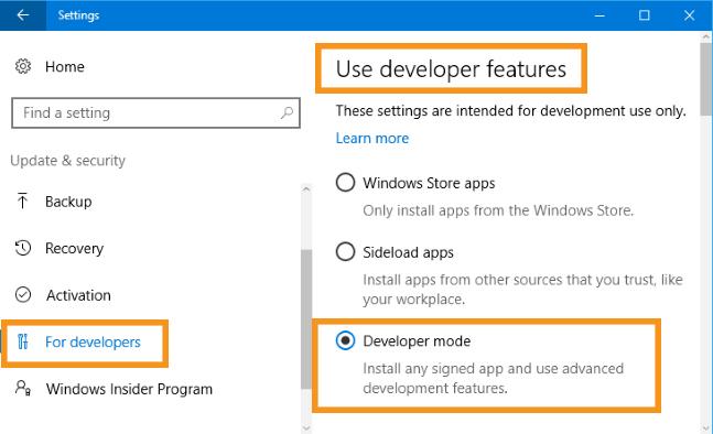 Activate Developer Mode