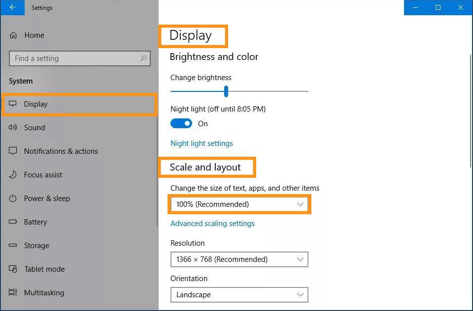Adjust the Display Settings