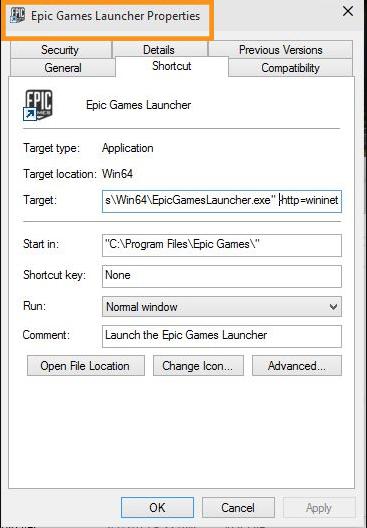 Change Epic Games Launcher Properties