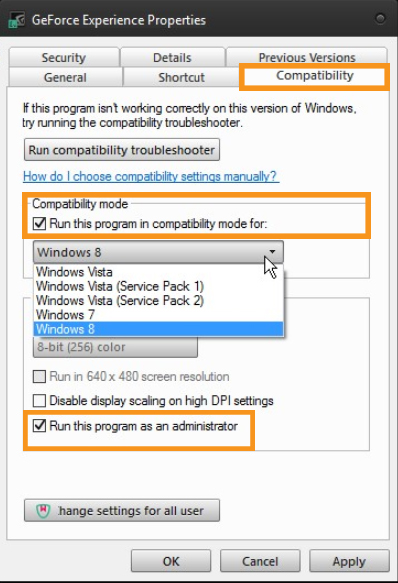 Change the Compatibility of the GeForce Experience Application