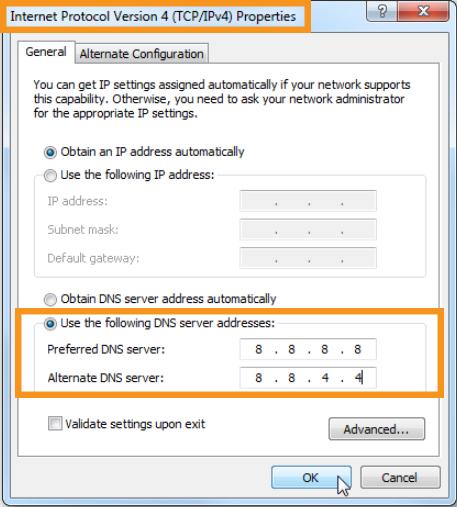 Change the DNS Server Addresses