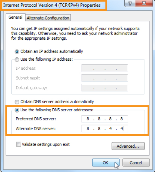 Change the DNS Settings