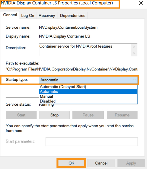 """Change the settings of """"NVIDIA Display Container"""