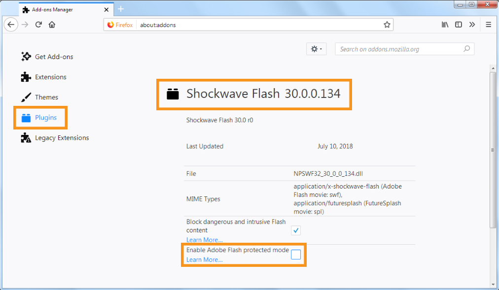 Disable Adobe Flash Protected Mode