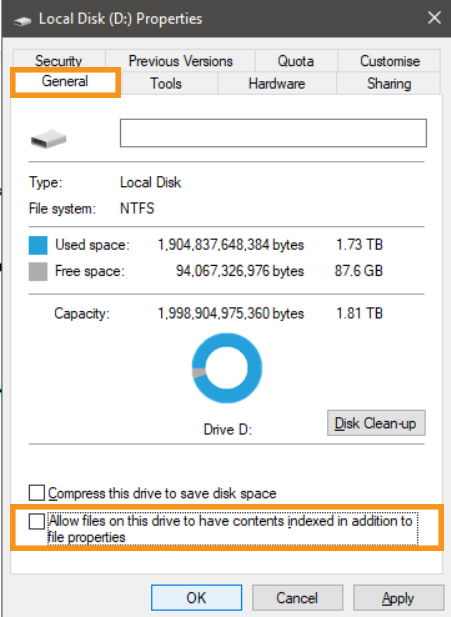 Disable Indexing in C Drive