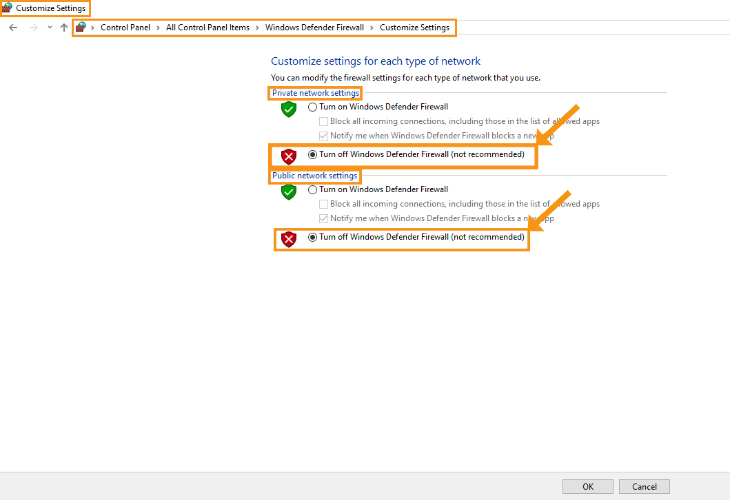 Disable Your Antivirus and Firewall