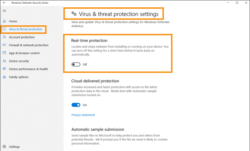 Disable the Windows Defender Temporarily