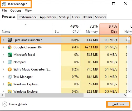 End the Epic Games Launcher process in Task Manager