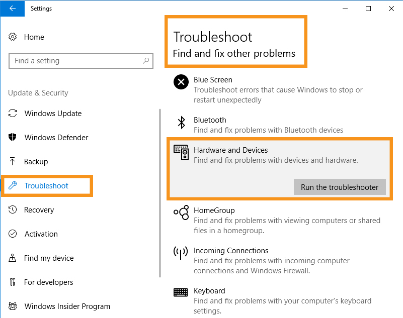 Hardware and Devices Troubleshooter Needs to Run