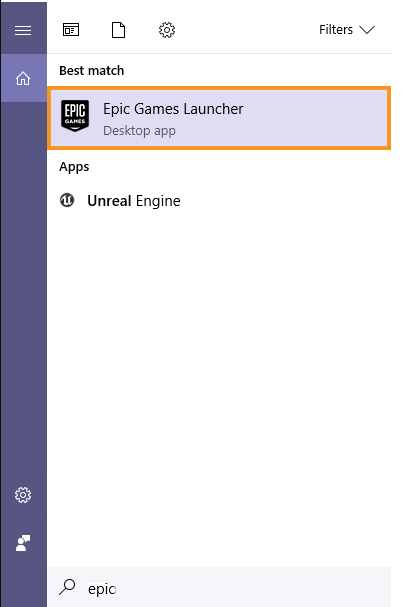 Launch the Epic Games launcher from the Start Menu
