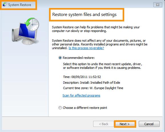 Perform System Restore