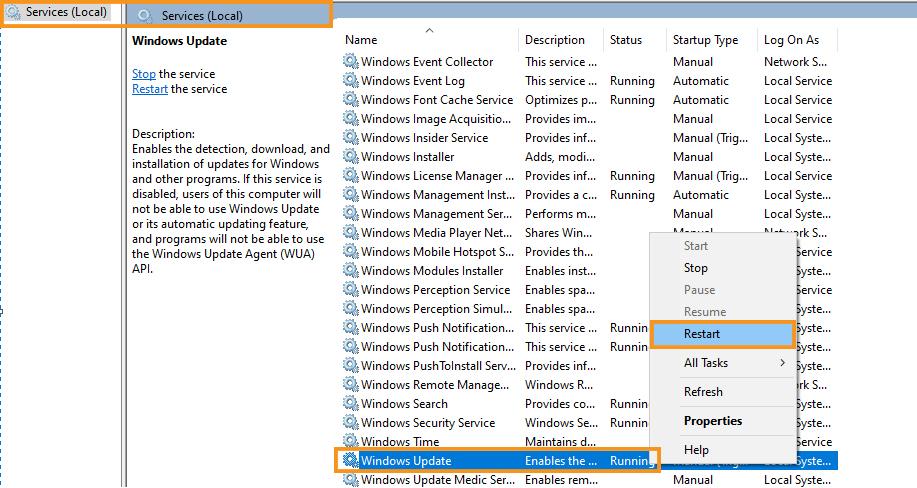 Refresh the Windows Update Service
