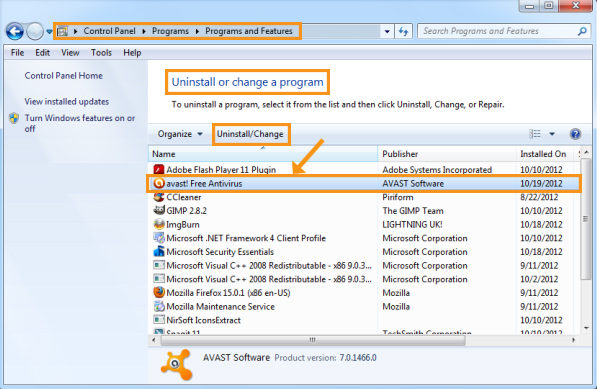 Reinstall the Avast Application