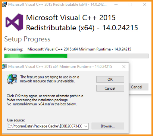 Reinstall the Visual C++ Packages