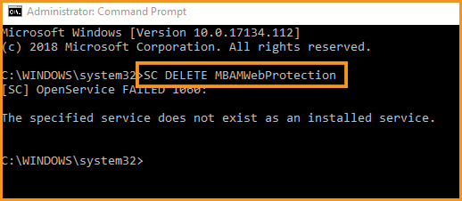 Remove the Driver for MBAM Web Protection