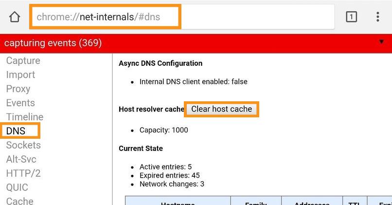 Remove the Host Cache of Chrome