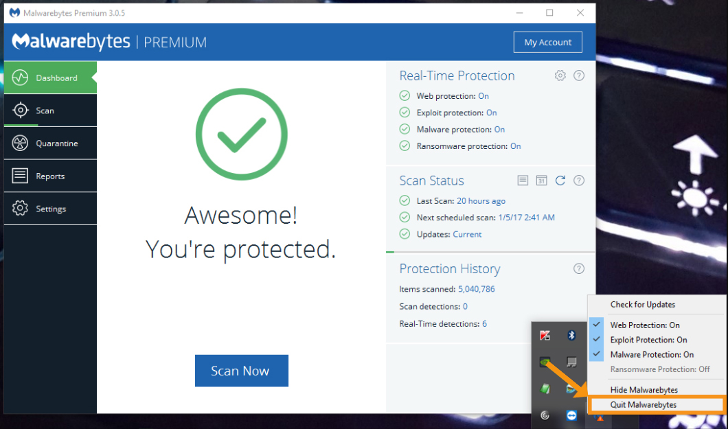Restart the Malwarebytes Program on the Device