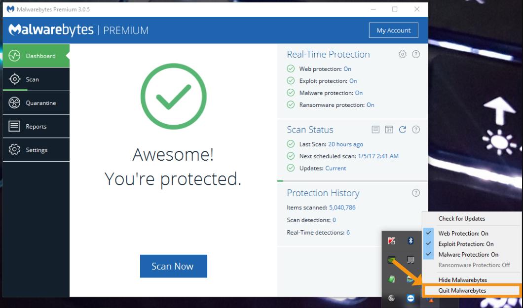 Restart the Malwarebytes Program on the Device