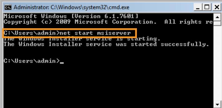 Restart the Windows Installer Service