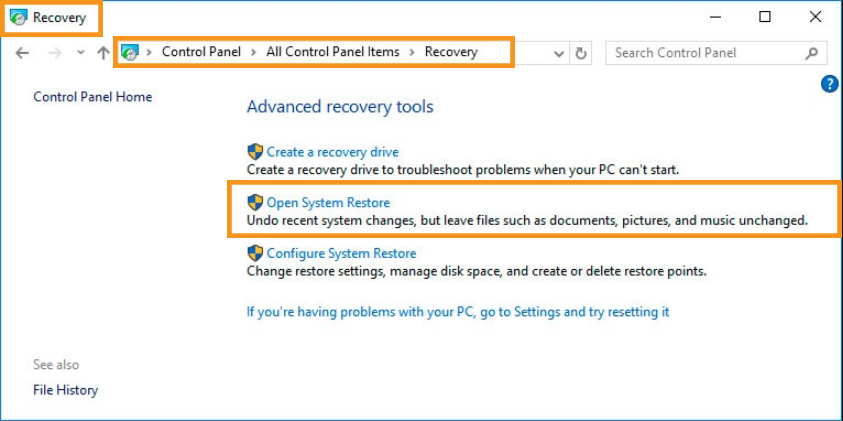 Restore Through Windows Recovery